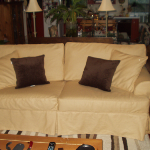 Gold Cotton Sofa Slipcover