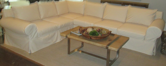 White Sectional Sofa Slipcover - Slipcovers On Site!